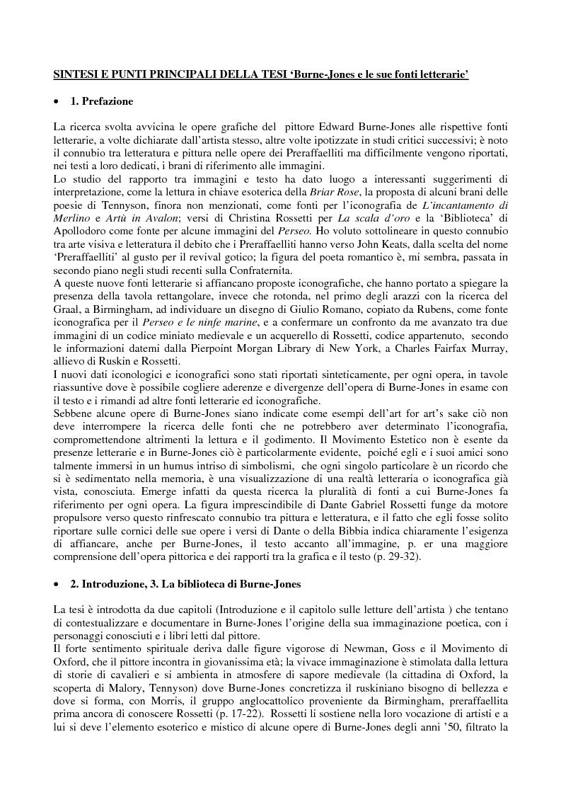 Anteprima della tesi: La pittura di Sir Edward Burne-Jones e le sue fonti letterarie, Pagina 1