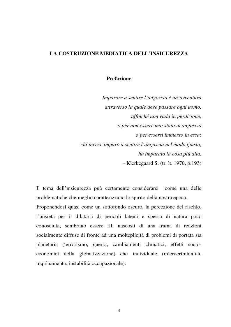 La costruzione mediatica dell'insicurezza, indagine sulla retorica della paura come strategia comunicativa e strumento d...