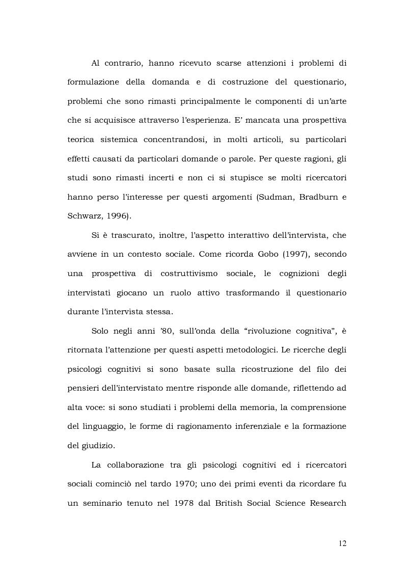 Anteprima della tesi: Il processo di formulazione della risposta nei sondaggi d'opinione, Pagina 6