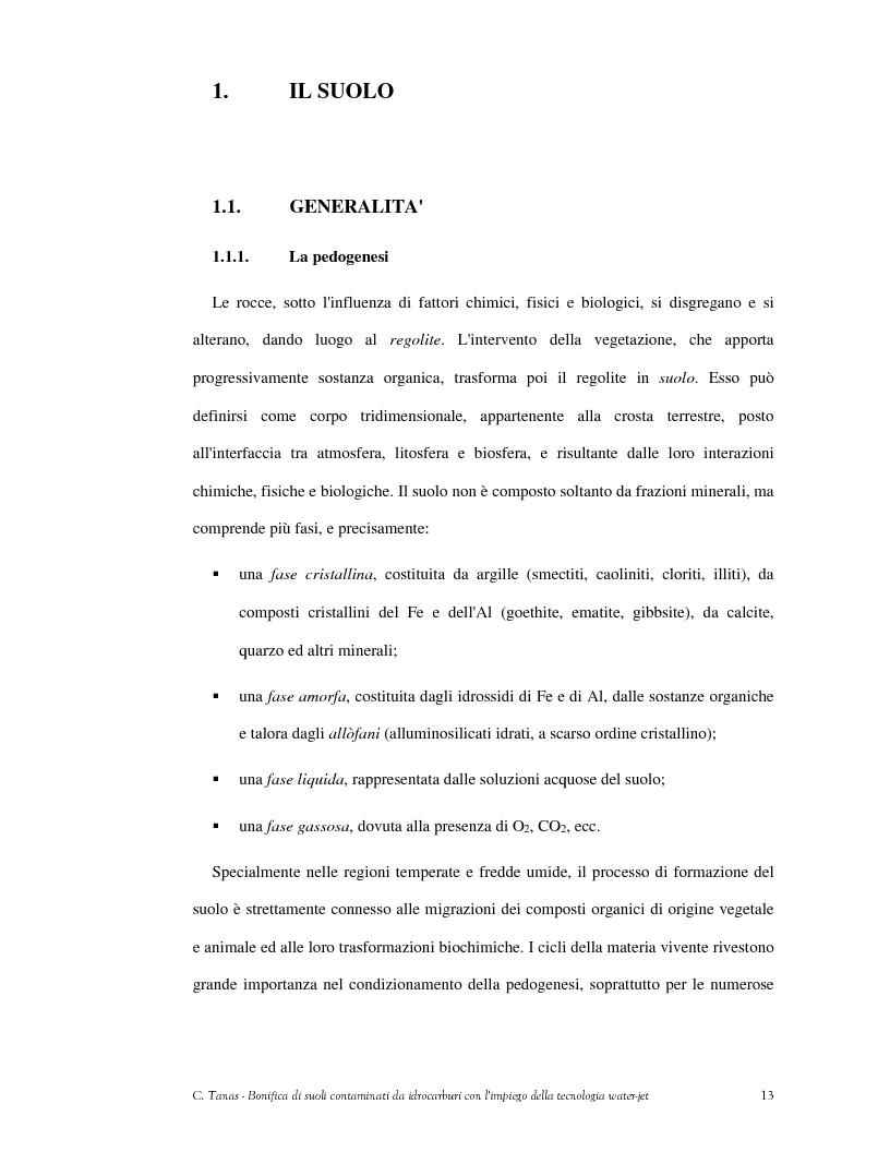 Anteprima della tesi: Bonifica di suoli contaminati da idrocarburi con l'impiego della tecnologia water-jet, Pagina 4