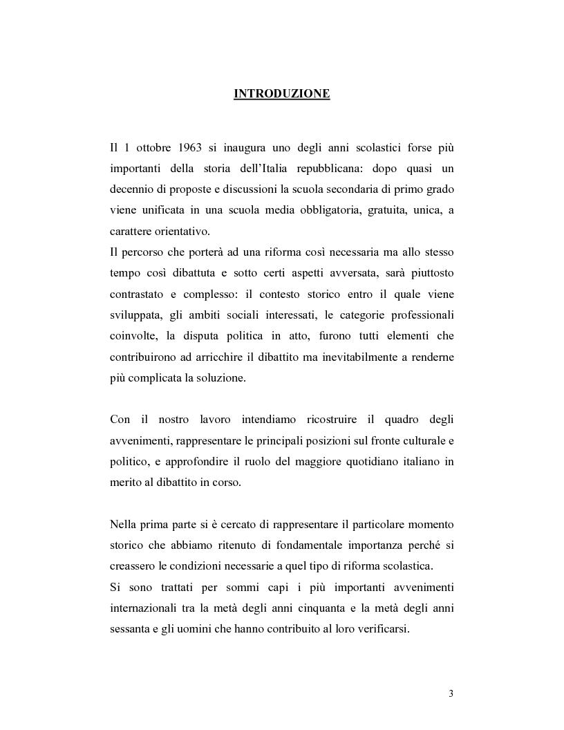Il Corriere della Sera ed il dibattito sulla riforma della scuola media (legge 1859 del 31/12/62) - Tesi di Laurea