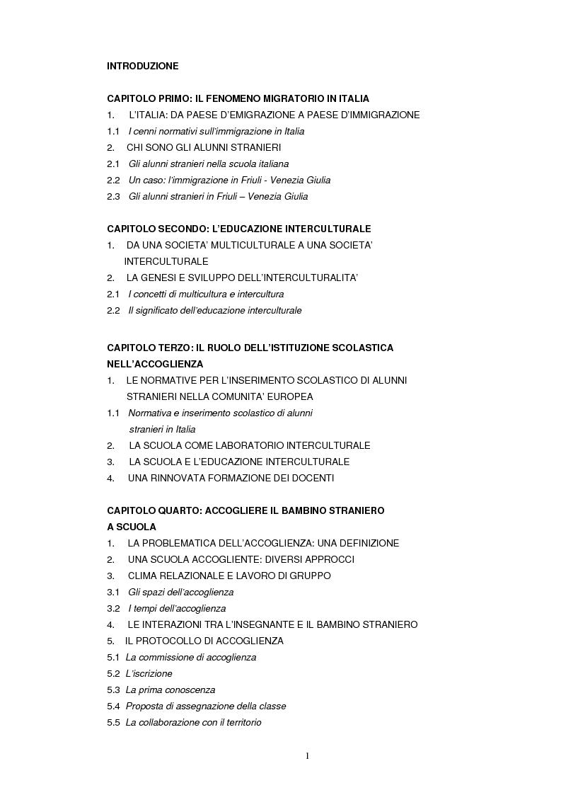Indice della tesi: Scuola e famiglia. Immigrazione e accoglienza, Pagina 1