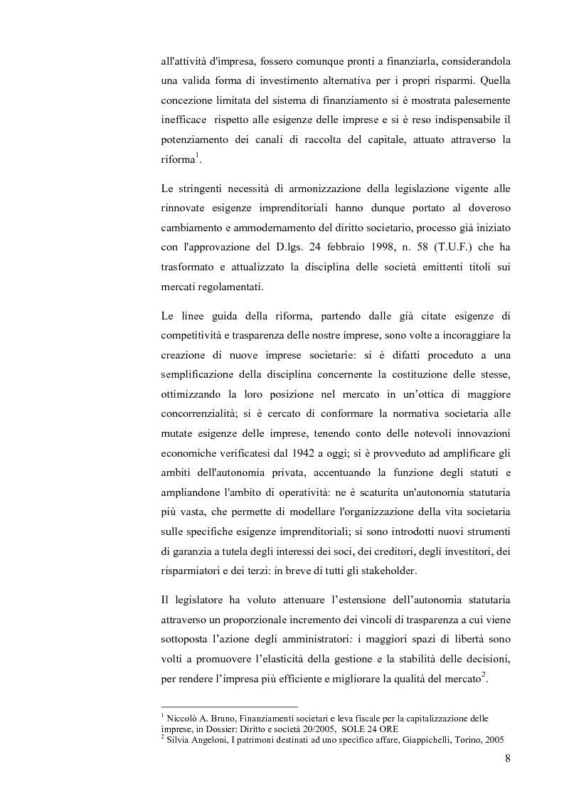 Anteprima della tesi: I patrimoni destinati ad uno specifico affare: finalità applicative e confronto internazionale, Pagina 5