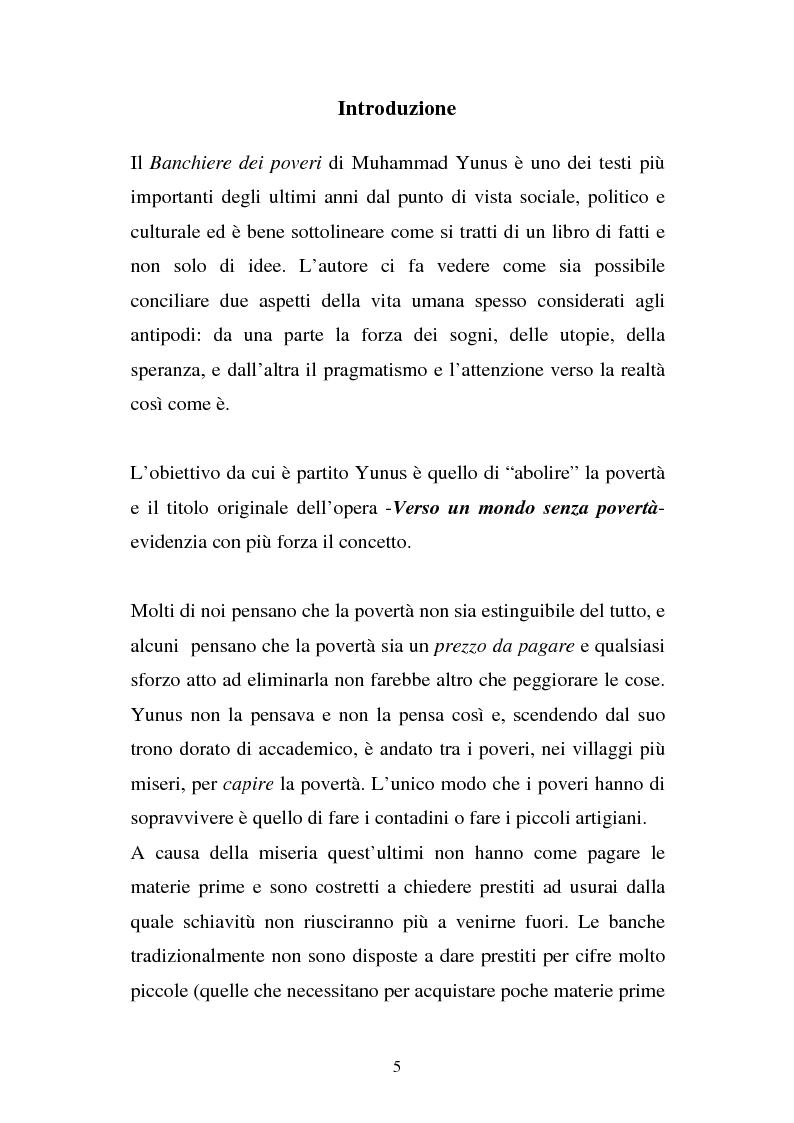 Anteprima della tesi: Muhammad Yunus: il banchiere dei poveri. Organizzazione e società., Pagina 1