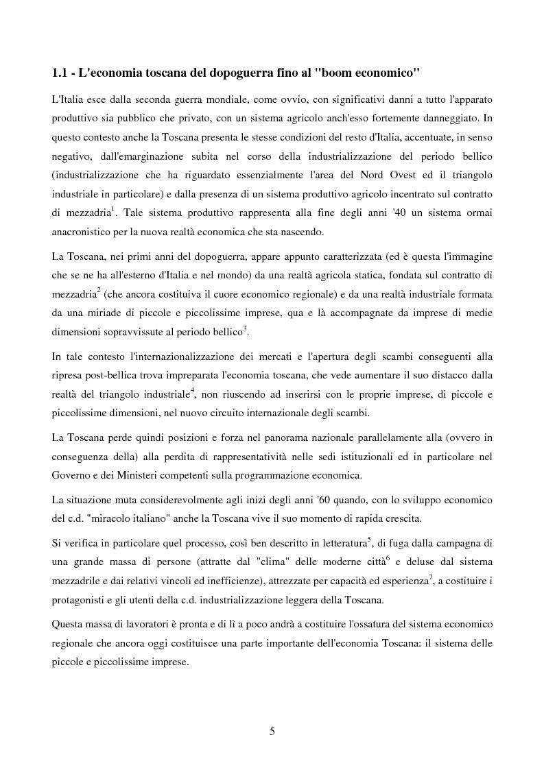 Anteprima della tesi: Il modello di sviluppo economico della Toscana: note sul ruolo della Pubblica Amministrazione, Pagina 3