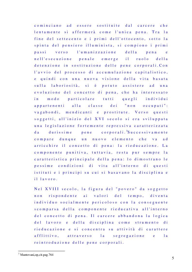 Anteprima della tesi: Esecuzione penale, trattamento sanzionatorio, rieducazione del condannato, Pagina 5