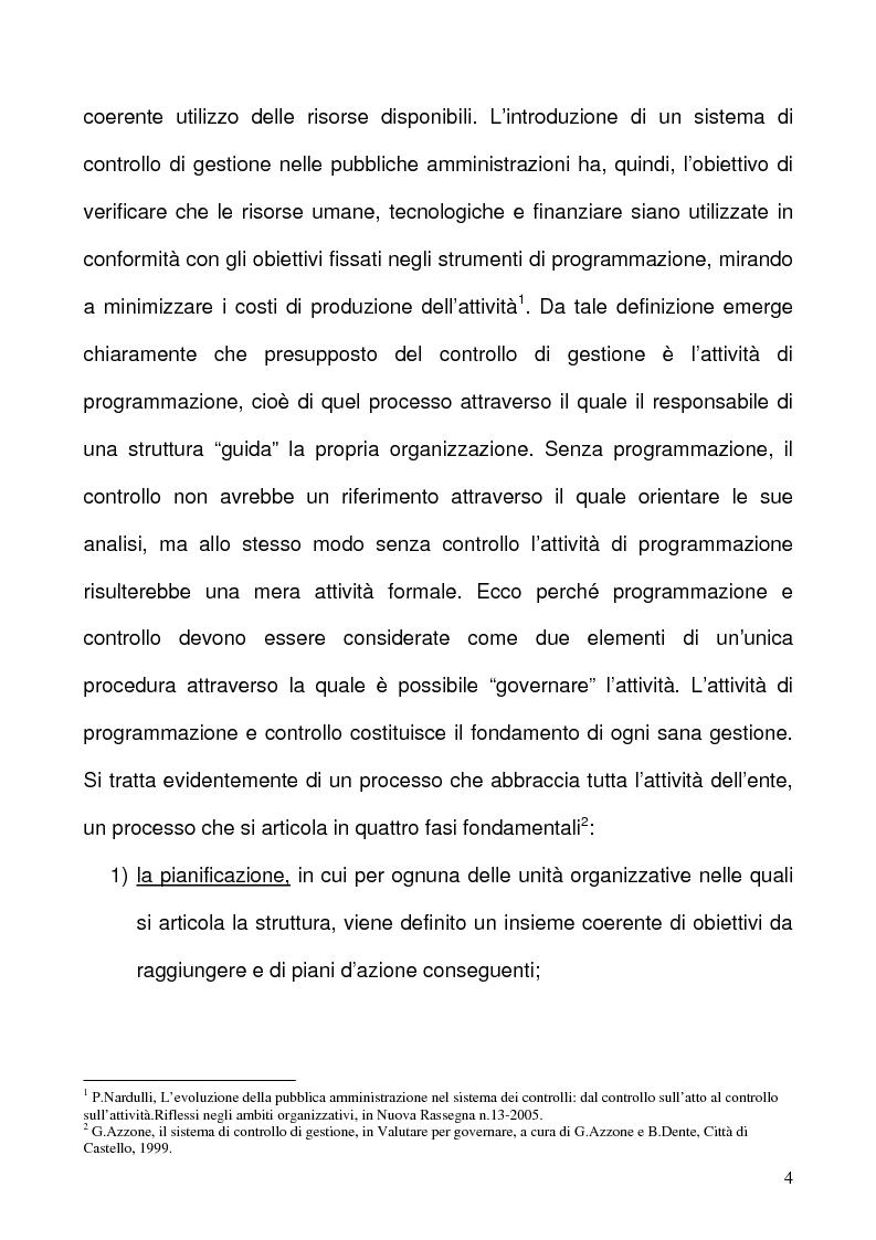 Anteprima della tesi: Il sistema dei controlli interni di tipo gestionale nelle pubbliche amministrazioni, Pagina 4