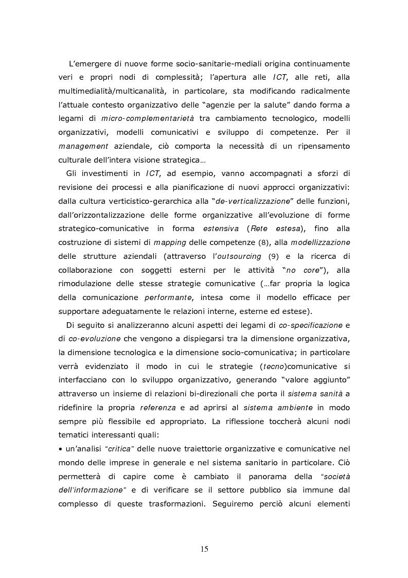 Anteprima della tesi: Co-evoluzioni in sanità: forme di interazione e prospettive di sviluppo tra organizzazioni, cittadini e reti tecno-comunicative, Pagina 11