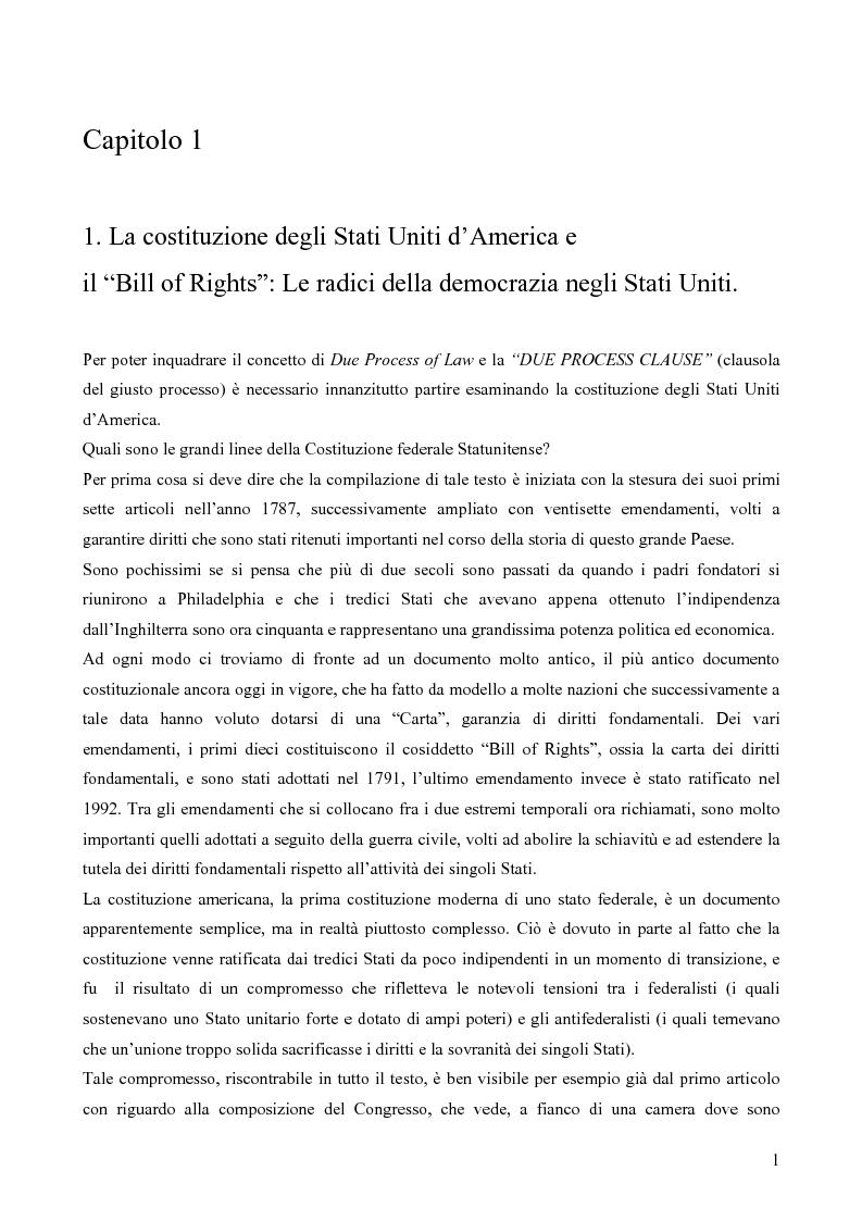 Anteprima della tesi: due process clause, pagina 1
