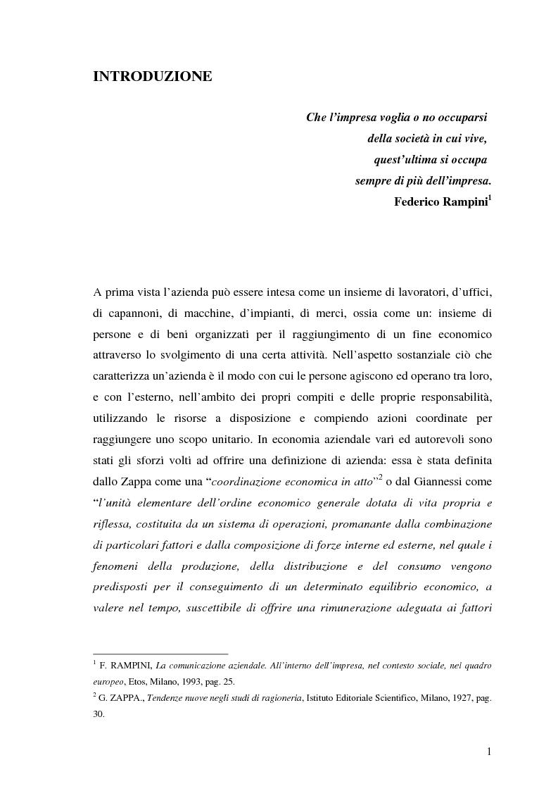 Anteprima della tesi: La responsabilità sociale nel processo di comunicazione esterna: il caso Coop, Pagina 1