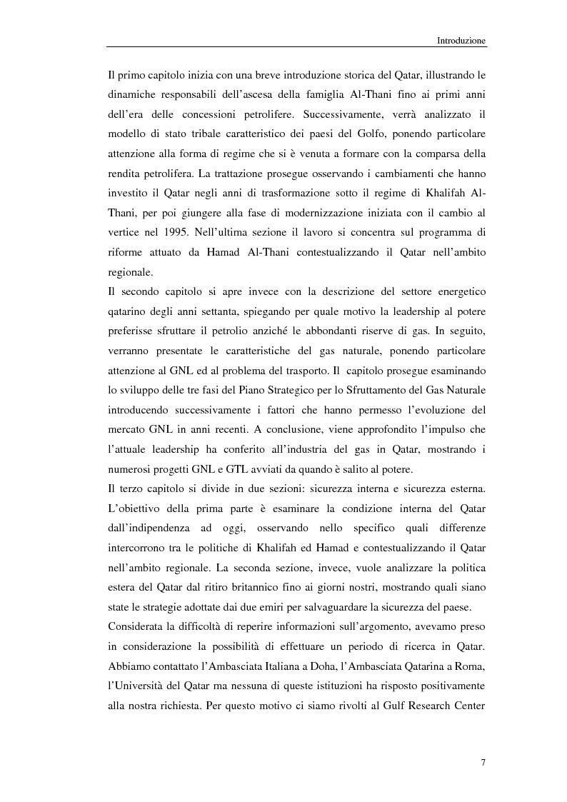 Anteprima della tesi: Riforme politiche, gas naturale e sicurezza: il caso del Qatar, Pagina 7