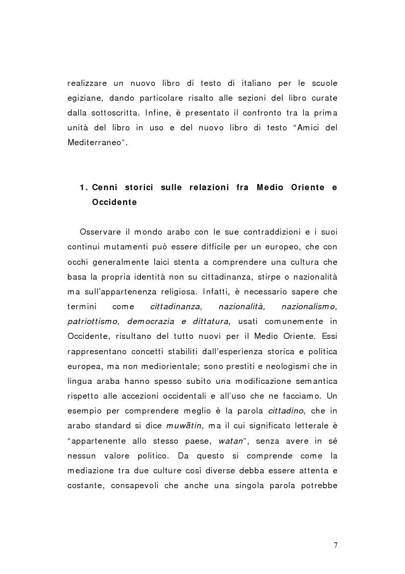 Anteprima della tesi: Progetti del Governo Italiano per la diffusione della lingua italiana nelle scuole egiziane. Il nuovo libro di testo ''Amici del Mediterraneo'', Pagina 4