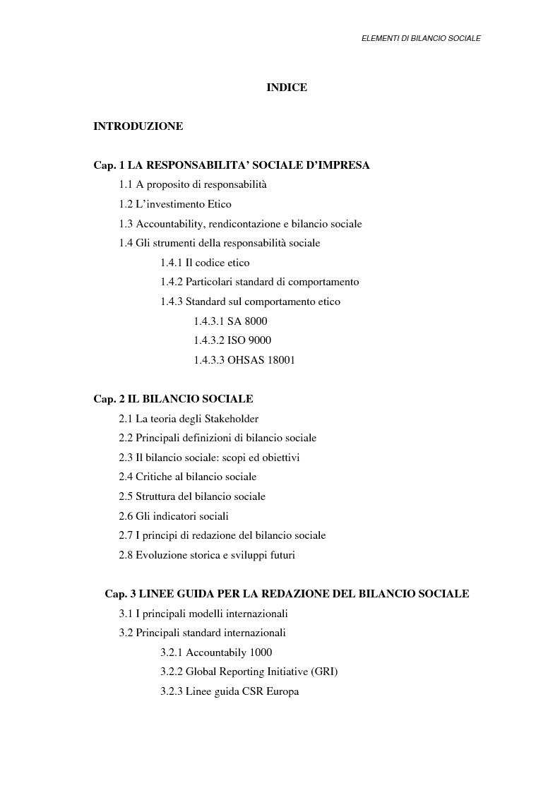 Indice della tesi: Elementi di bilancio sociale, Pagina 1