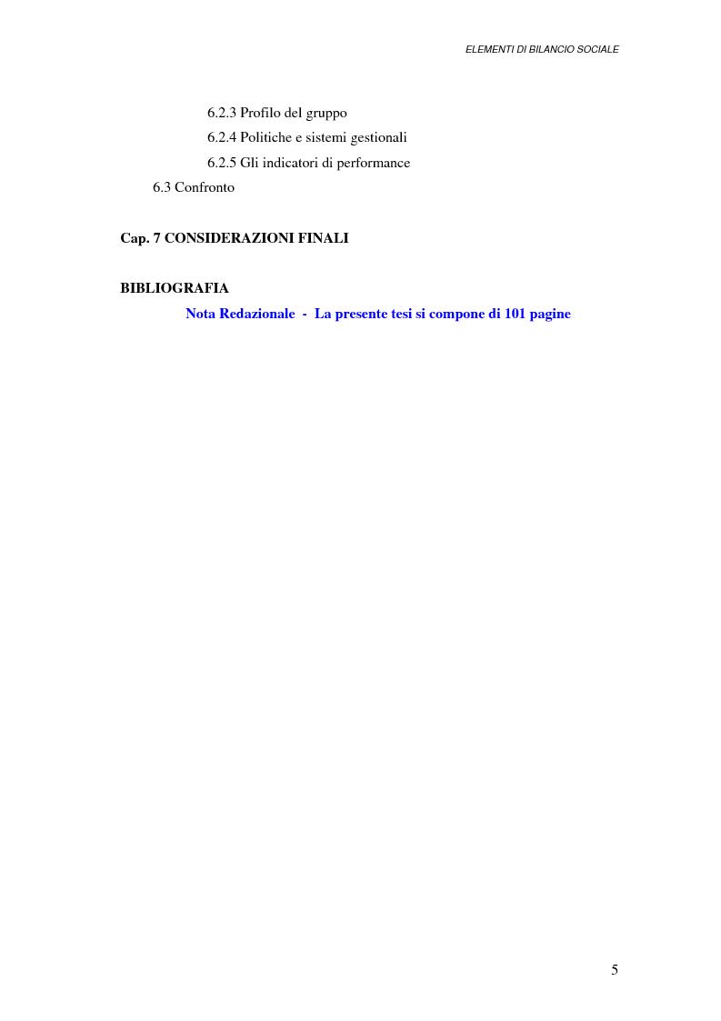Indice della tesi: Elementi di bilancio sociale, Pagina 3