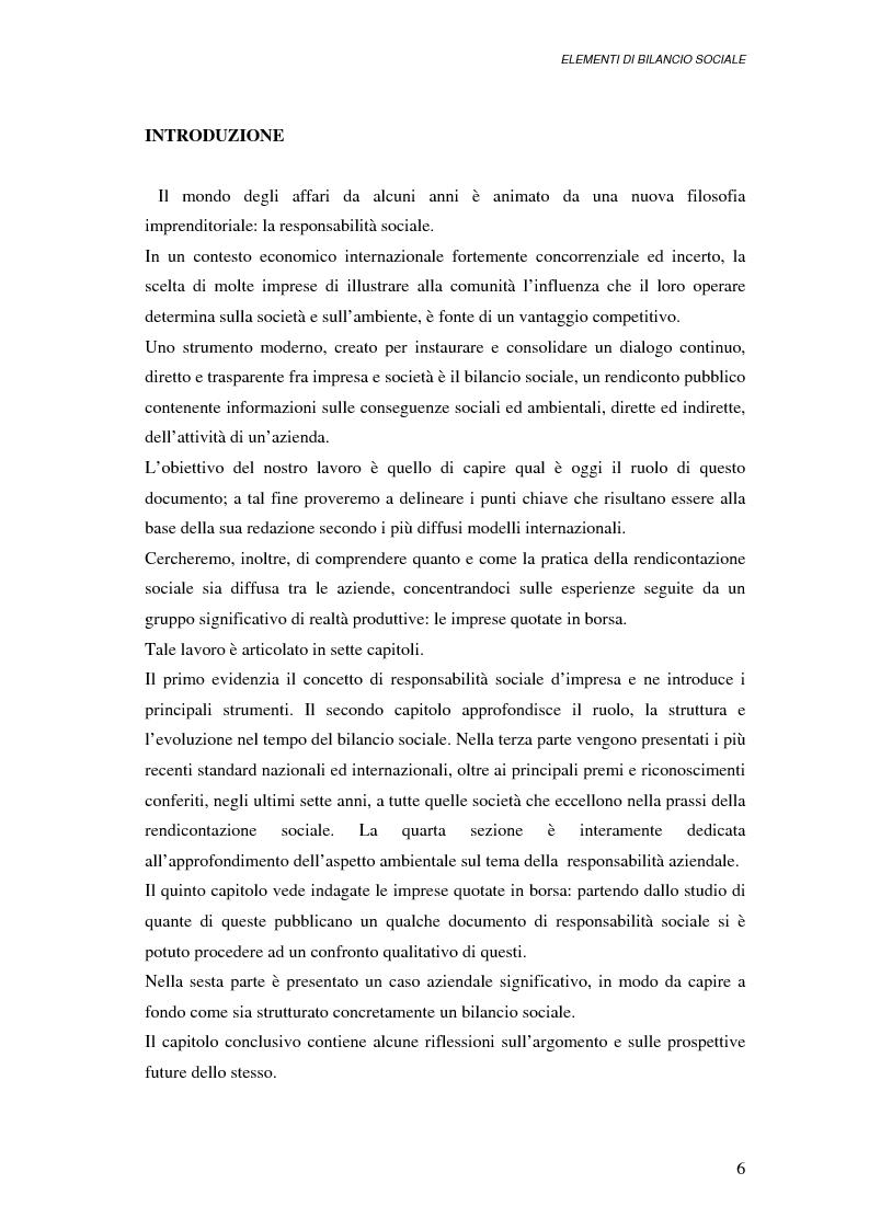Anteprima della tesi: Elementi di bilancio sociale, Pagina 1