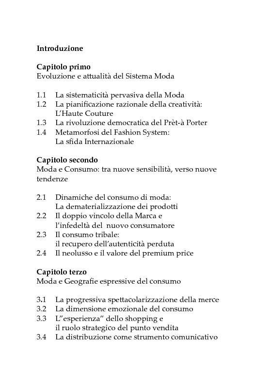 Indice della tesi: Crisi dei Consumi e Nuovi Scenari. Il Factory Outlet come strategia di contenimento, Pagina 1