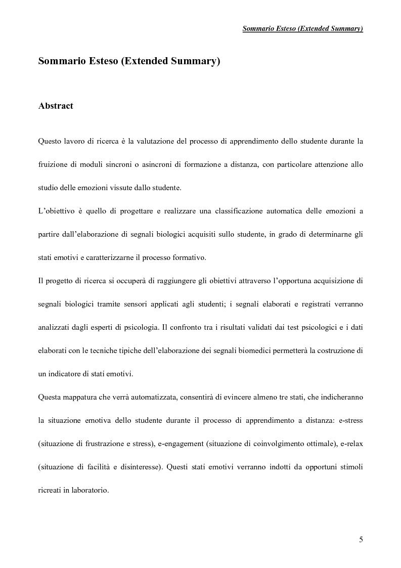 Metodologie di elaborazione e fusione di segnali biologici per applicazioni di e-learning - Tesi di Laurea