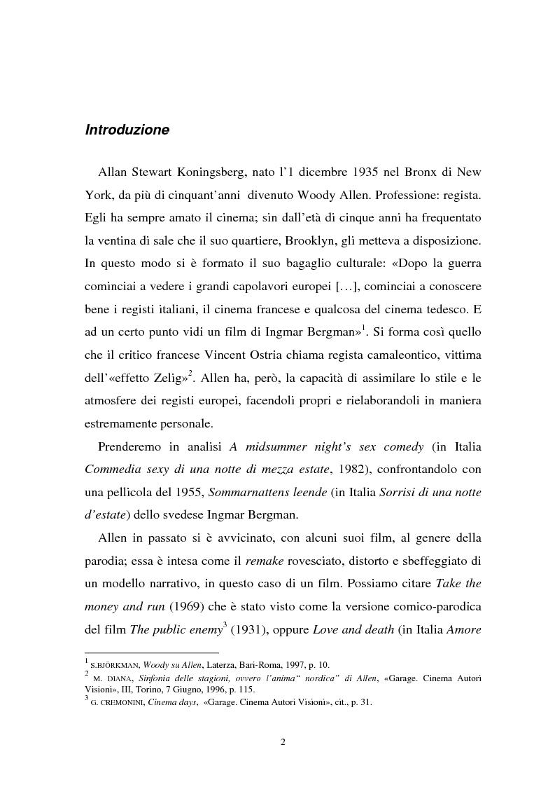 Anteprima della tesi: Allen dopo Bergman: ''Una commedia sexy in una notte di mezza estate'', Pagina 1