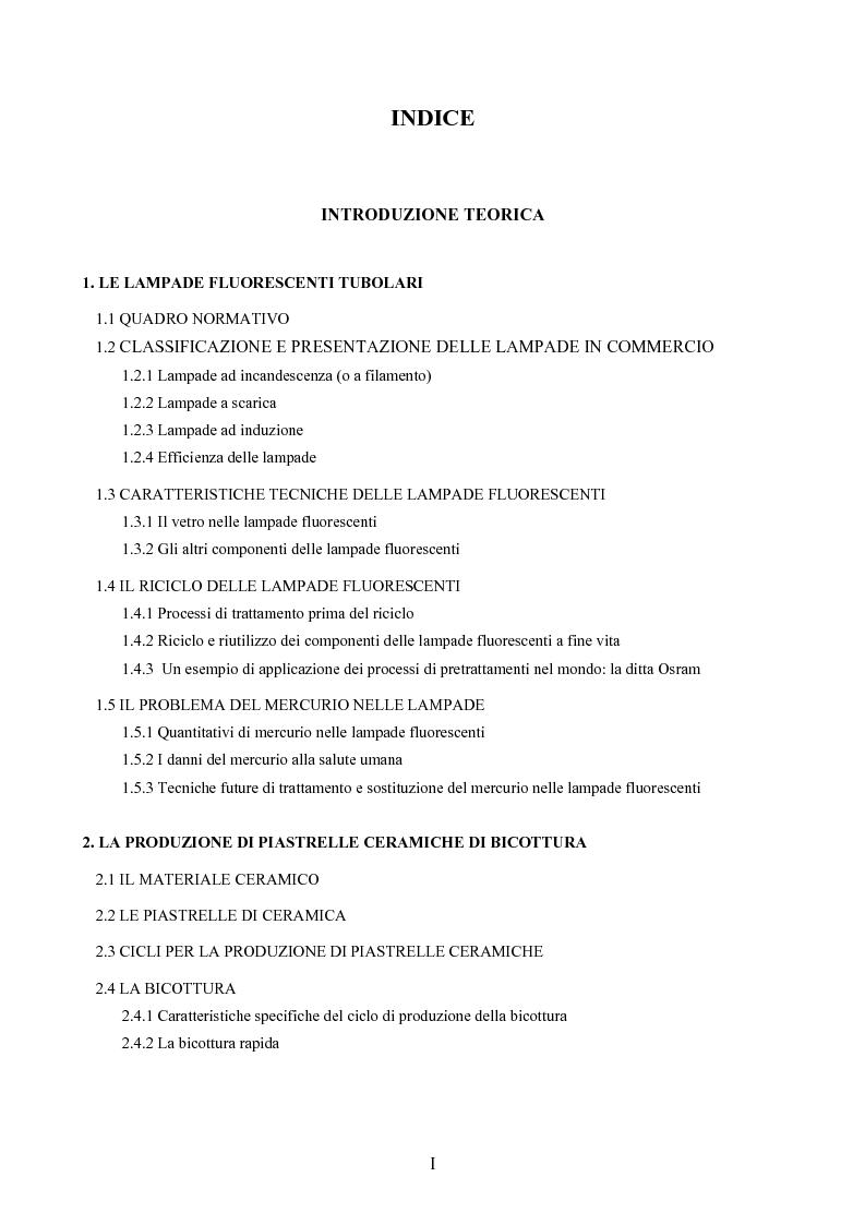 Indice della tesi: Riciclo di lamapade fluorescenti a fine vita nell'industria ceramica, Pagina 1