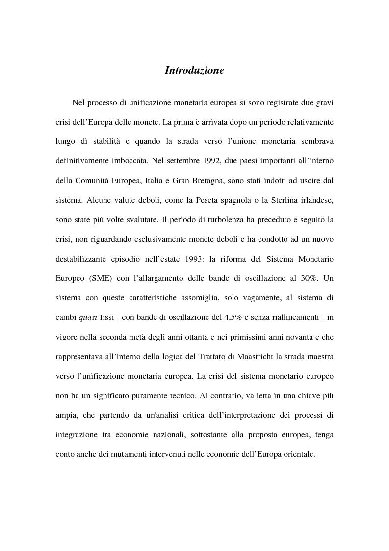 Anteprima della tesi: Approcci alternativi all'Unione Monetaria Europea - Relazioni possibili tra Paesi In e Paesi Oot, Pagina 1