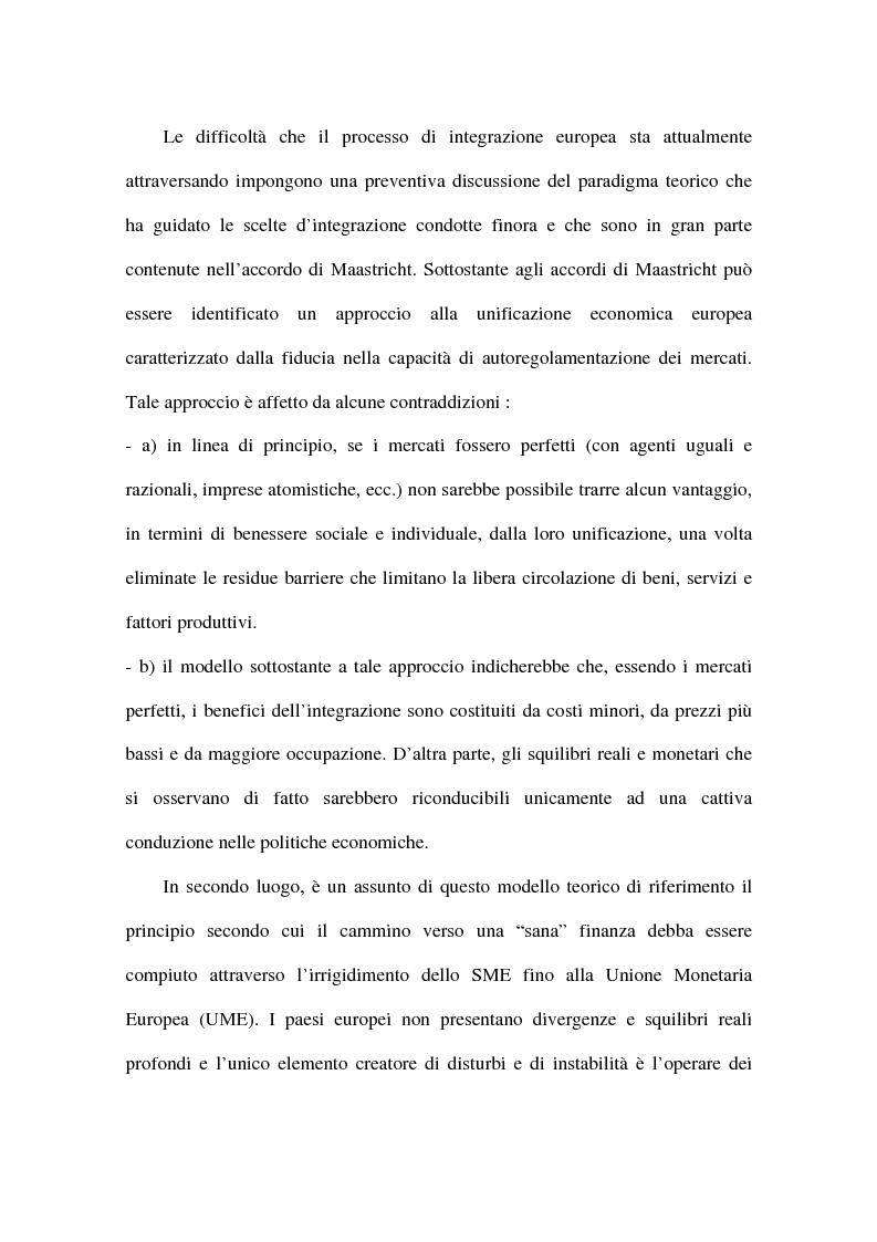 Anteprima della tesi: Approcci alternativi all'Unione Monetaria Europea - Relazioni possibili tra Paesi In e Paesi Oot, Pagina 2