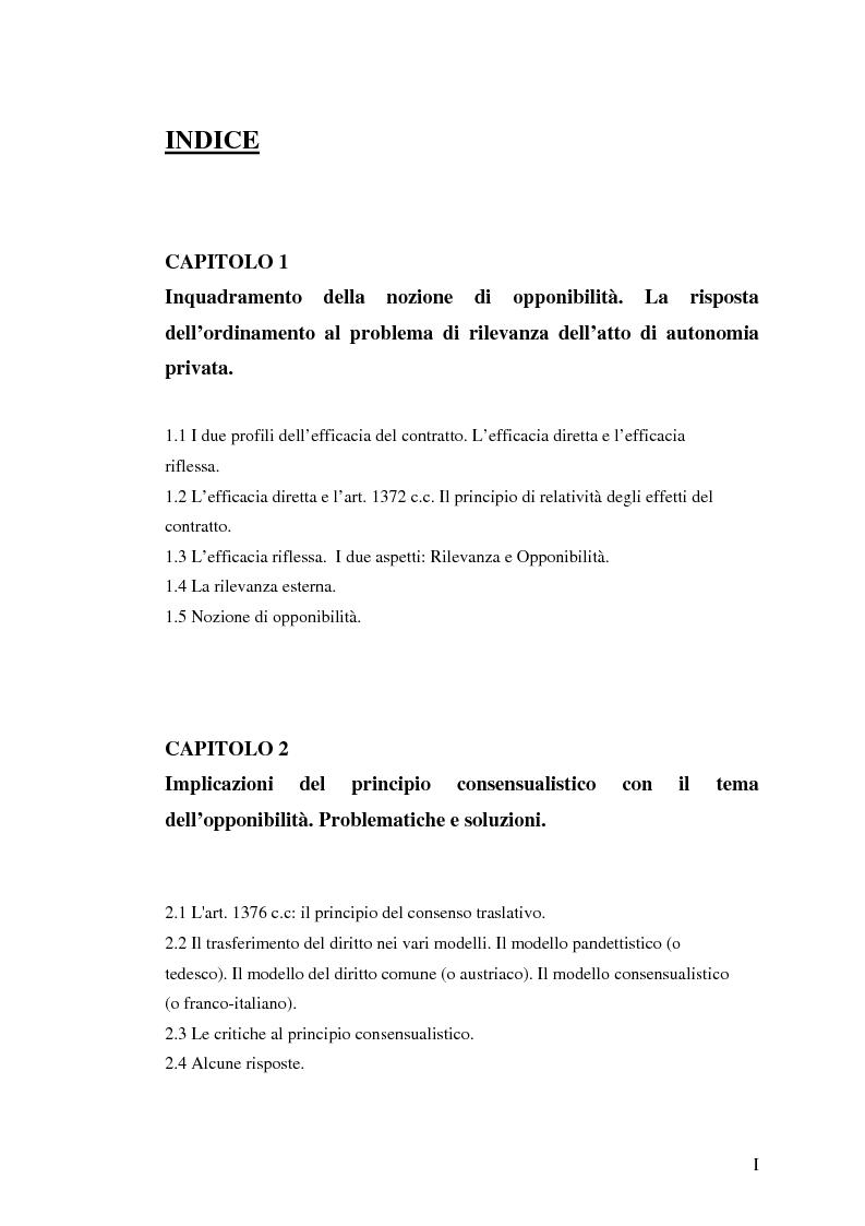 Indice della tesi: L'opponibilità del contratto, Pagina 1