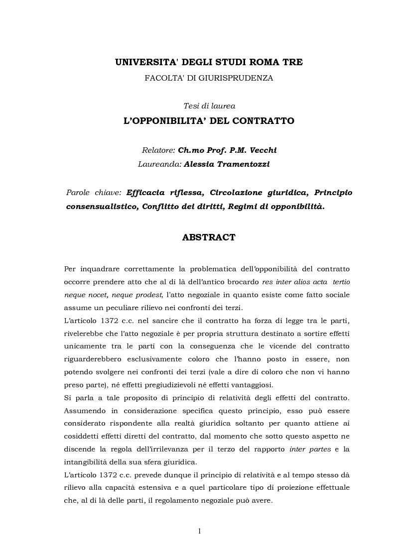 Anteprima della tesi: L'opponibilità del contratto, Pagina 1