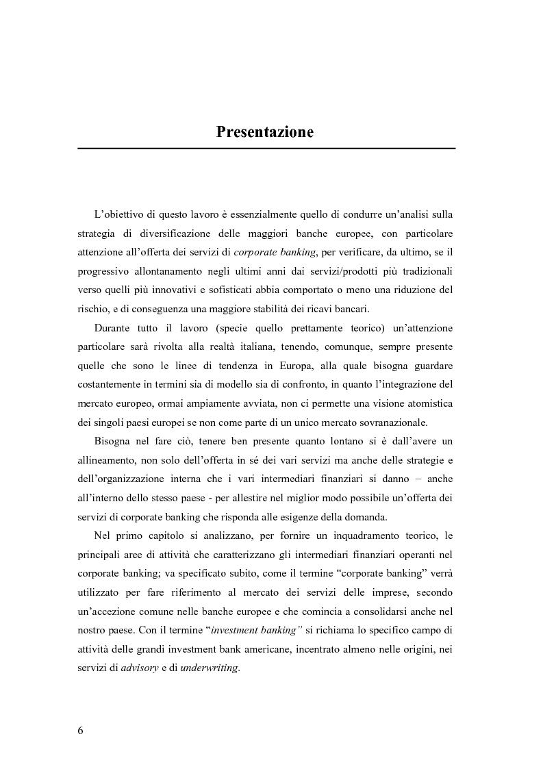 Anteprima della tesi: Le strategie di diversificazione delle banche europee verso i servizi di corporate banking: modelli organizzativi e impatto sulle performance, Pagina 1