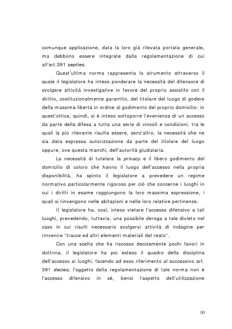 Anteprima della tesi: Le indagini difensive con particolare riferimento all'accesso ai luoghi del delitto, Pagina 7