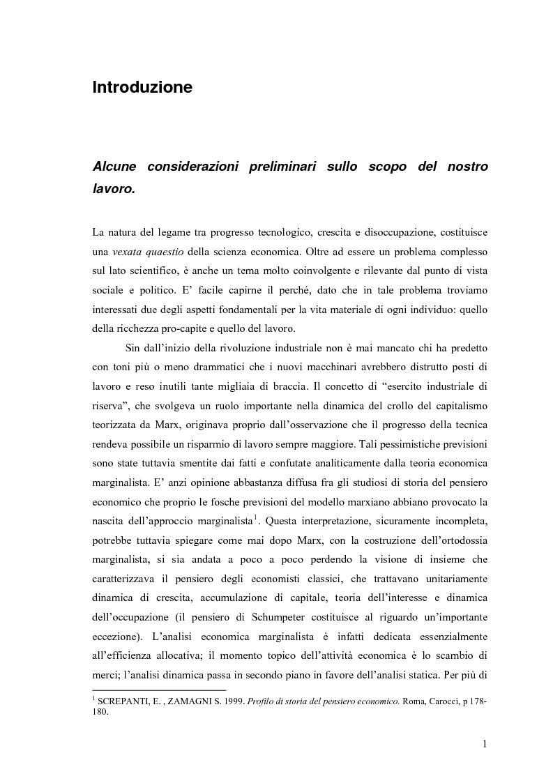 La relazione di lungo periodo fra progresso tecnico, crescita economica e disoccupazione - Tesi di Laurea
