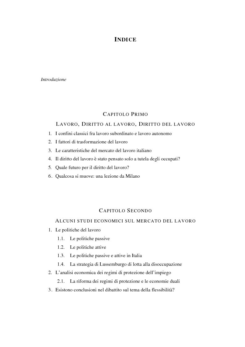 Indice della tesi: Il Libro Bianco sul mercato del lavoro, Pagina 1