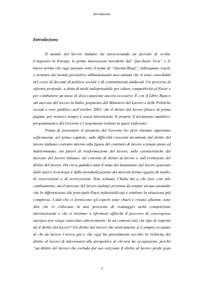 Anteprima della tesi: Il Libro Bianco sul mercato del lavoro, Pagina 1