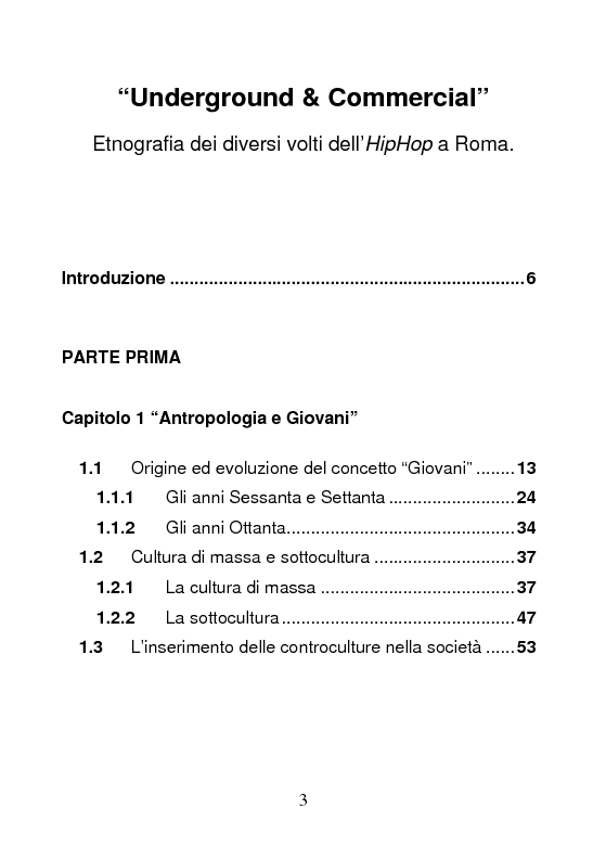 Indice della tesi: Underground & Commercial. Etnografia dei diversi volti dell'HipHop a Roma., Pagina 1