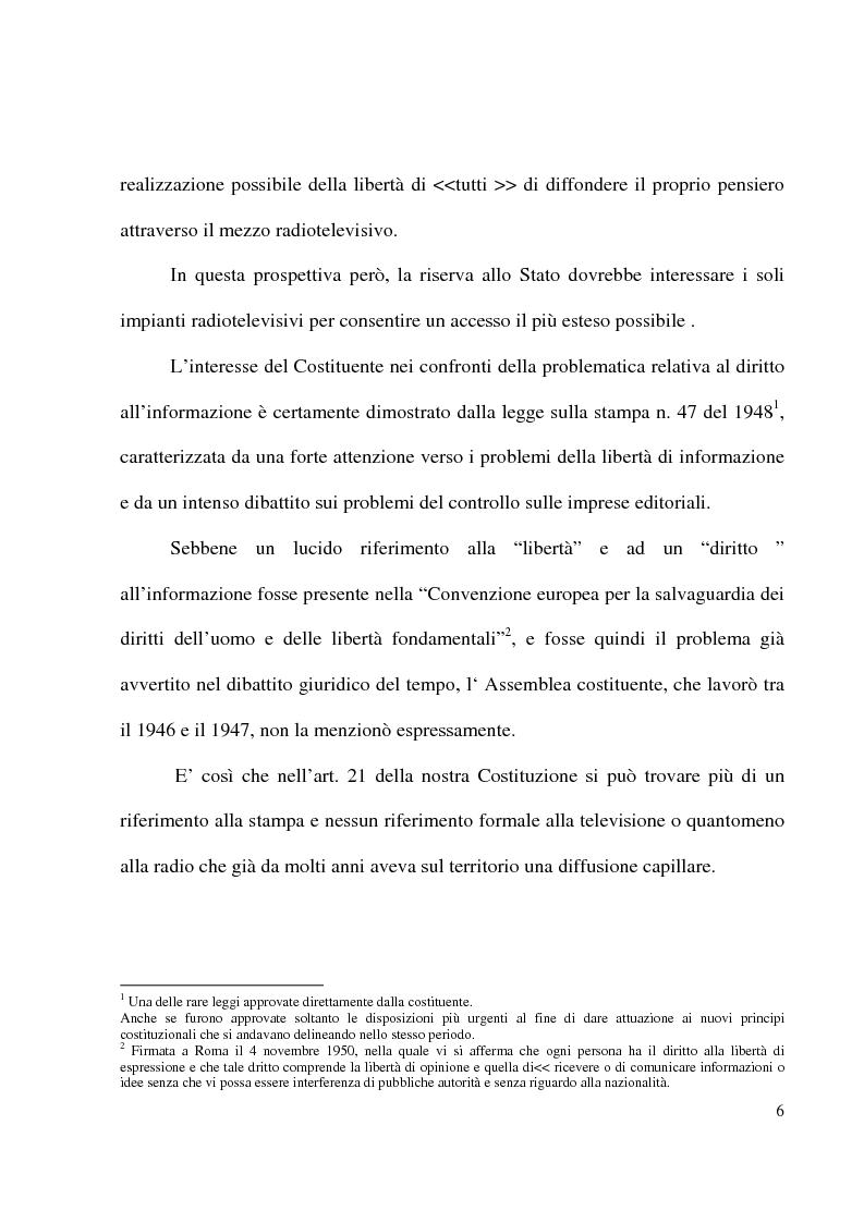 Anteprima della tesi: Il pluralismo radiotelevisivo nella legge Gasparri, Pagina 3
