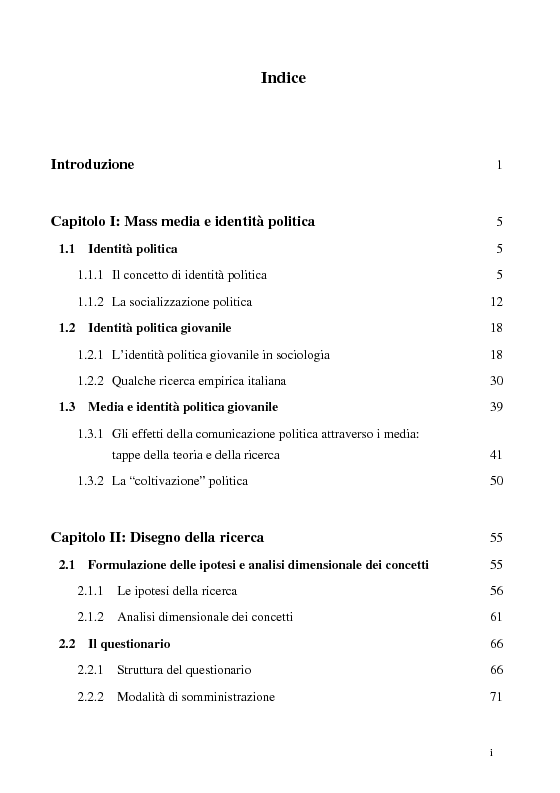 Indice della tesi: Televisione e identità politica giovanile. Analisi della campagna elettorale del 2001., Pagina 1