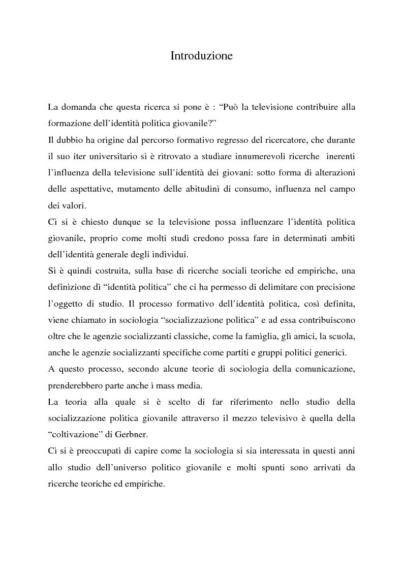 Anteprima della tesi: Televisione e identità politica giovanile. Analisi della campagna elettorale del 2001., Pagina 1