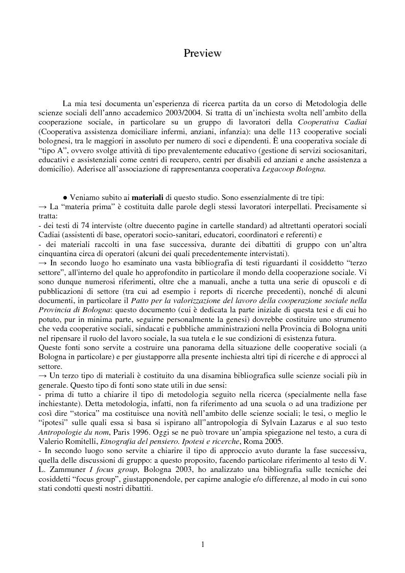Anteprima della tesi: ''Sarebbe il lavoro del futuro'', un'inchiesta sulle parole e il pensiero di un gruppo di lavoratori sociali, Pagina 1