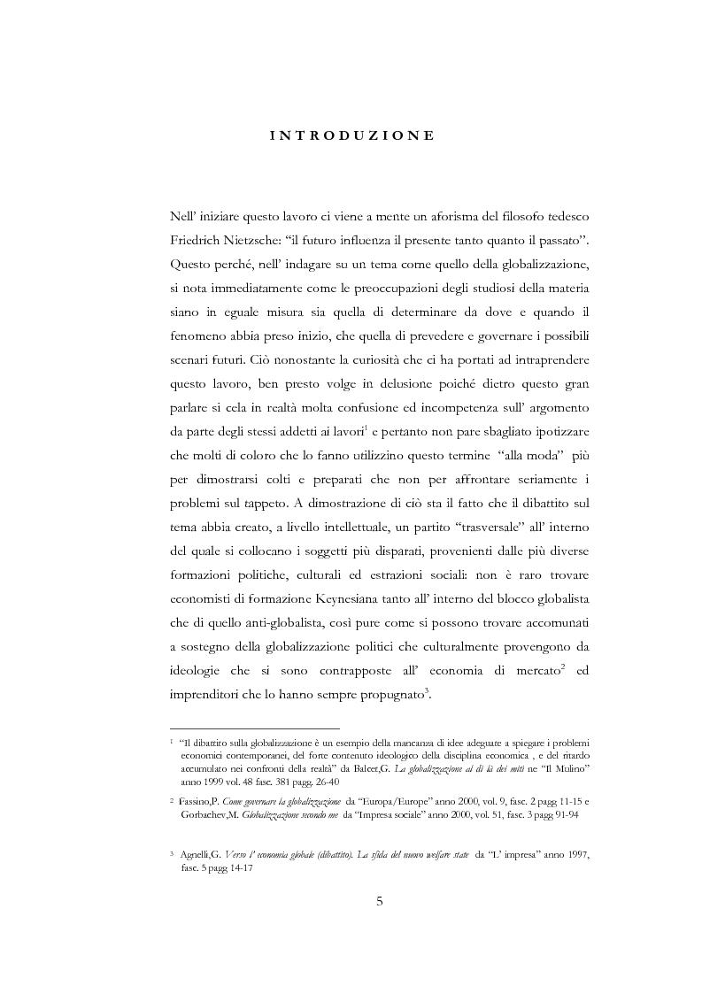 Anteprima della tesi: Il dibattito sulla globalizzazione nelle principali riviste economiche italiane, Pagina 1