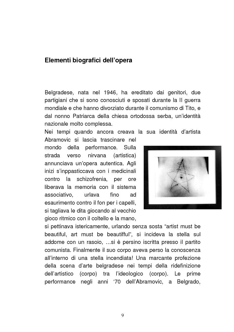 Anteprima della tesi: Marina Abramovic, un mito occidentale. Un'opera d'arte senza tempo ma anche senza terra, Pagina 6