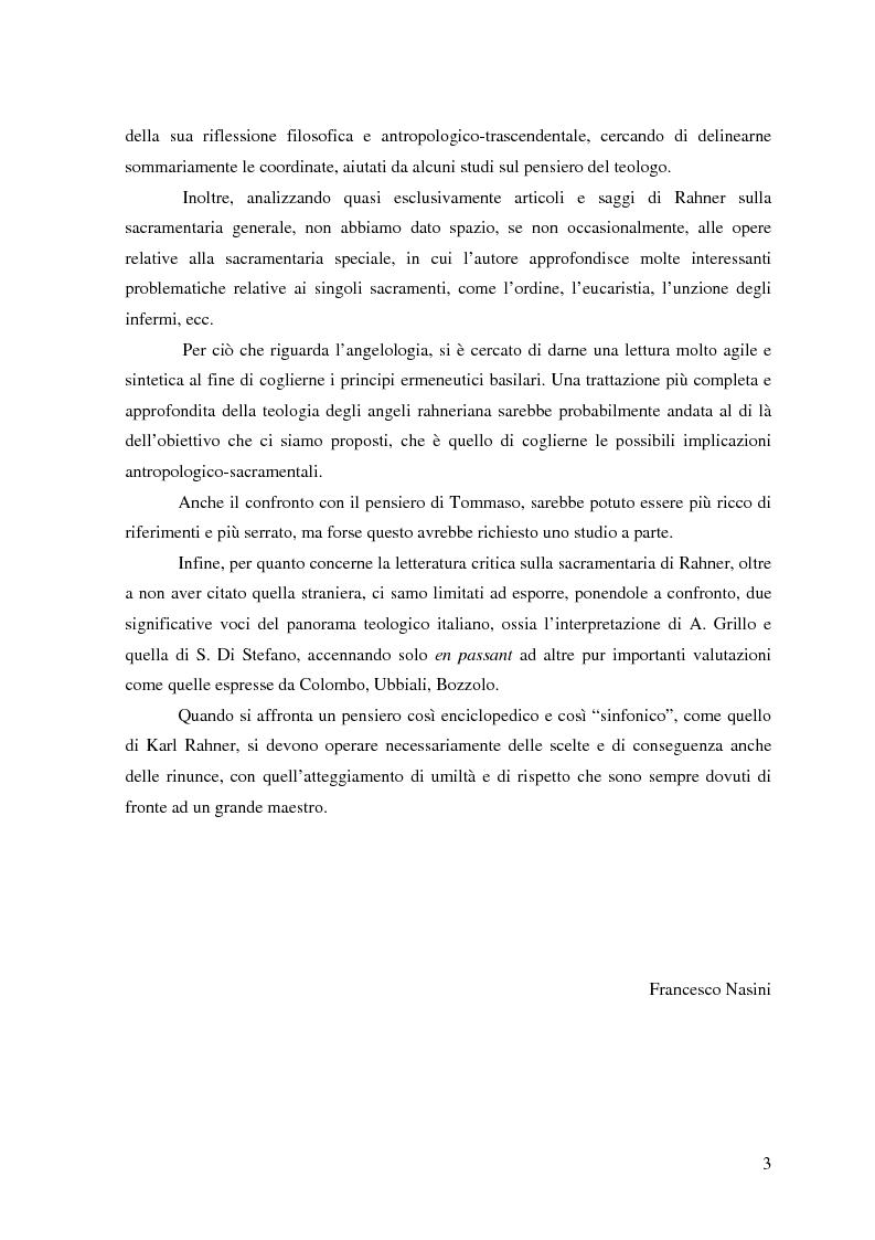Anteprima della tesi: 'Deus virtutem suam sacramentis non alligavit'. Sacramentaria e angelologia nel pensiero di Karl Rahner, Pagina 3