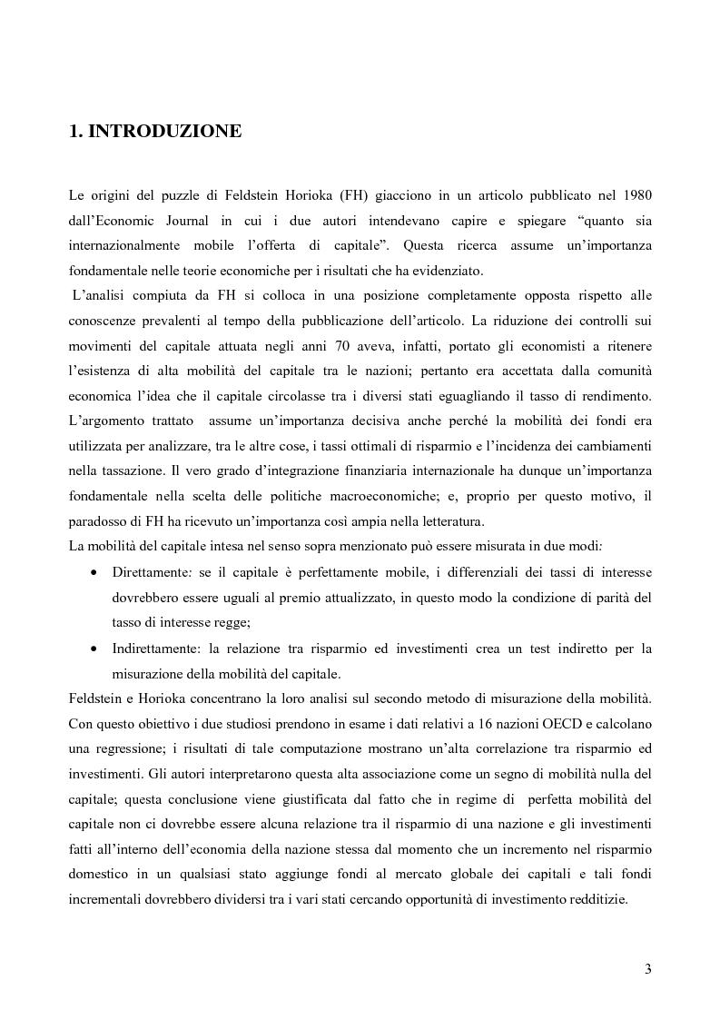 Anteprima della tesi: Soluzioni al paradosso di Feldstein-Horioka, Pagina 1