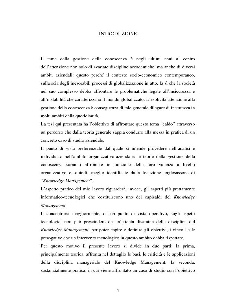Anteprima della tesi: Progettazione, realizzazione e monitoraggio di un sistema di gestione della conoscenza in ambito organizzativo / aziendale., Pagina 1