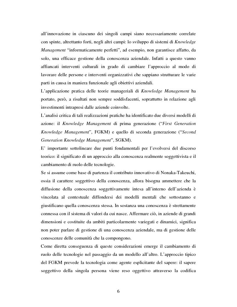 Anteprima della tesi: Progettazione, realizzazione e monitoraggio di un sistema di gestione della conoscenza in ambito organizzativo / aziendale., Pagina 3