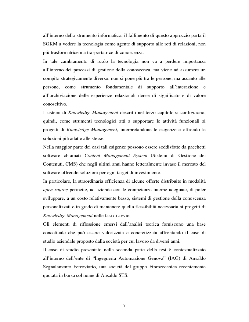 Anteprima della tesi: Progettazione, realizzazione e monitoraggio di un sistema di gestione della conoscenza in ambito organizzativo / aziendale., Pagina 4