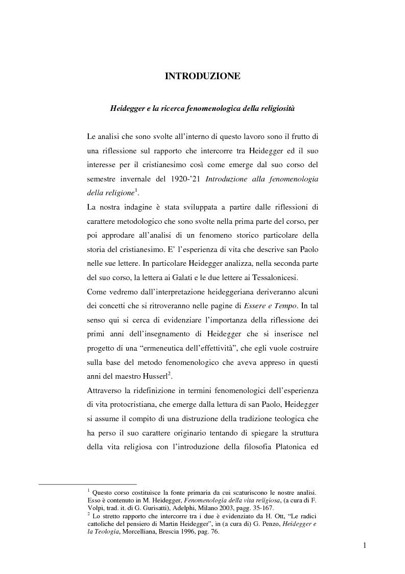 Anteprima della tesi: L'ermeneutica dell'effettività nella lettura heideggeriana di San Paolo, Pagina 1