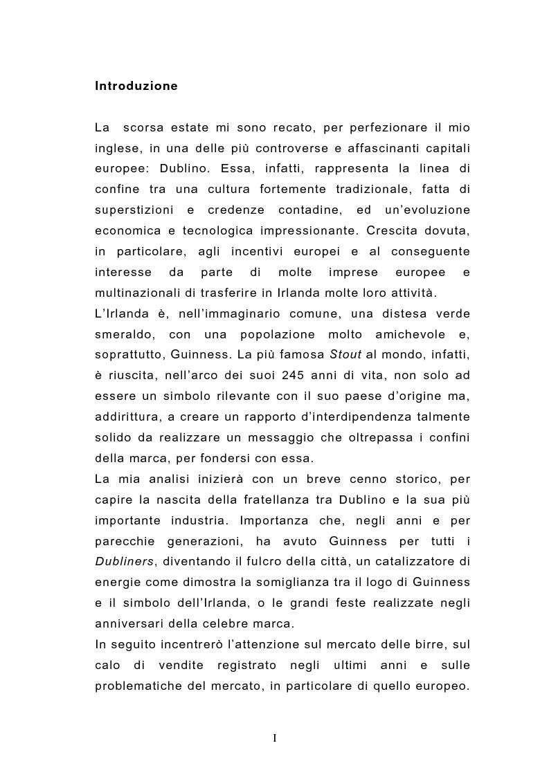 Anteprima della tesi: La promozione della marca attraverso il museo aziendale: il caso Guinness Storehouse, Pagina 1