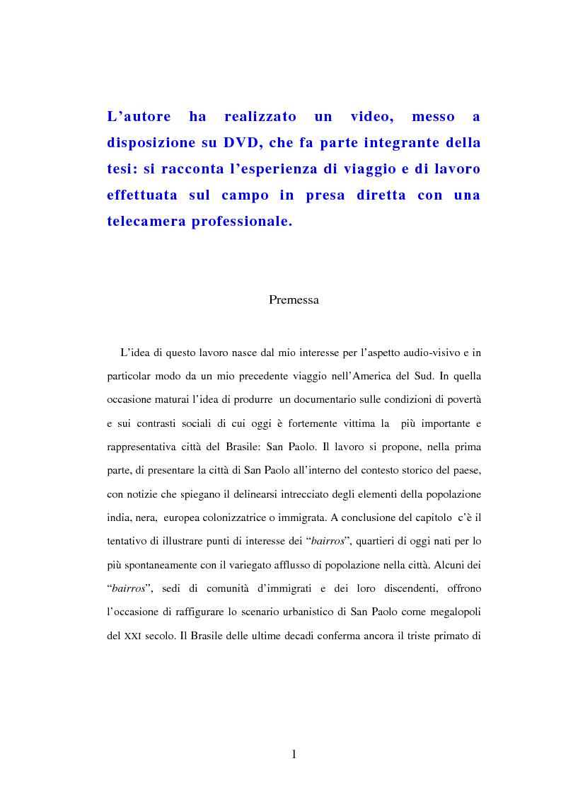Anteprima della tesi: San Paolo: immagini e parole documentate di una città di contrasti, Pagina 1