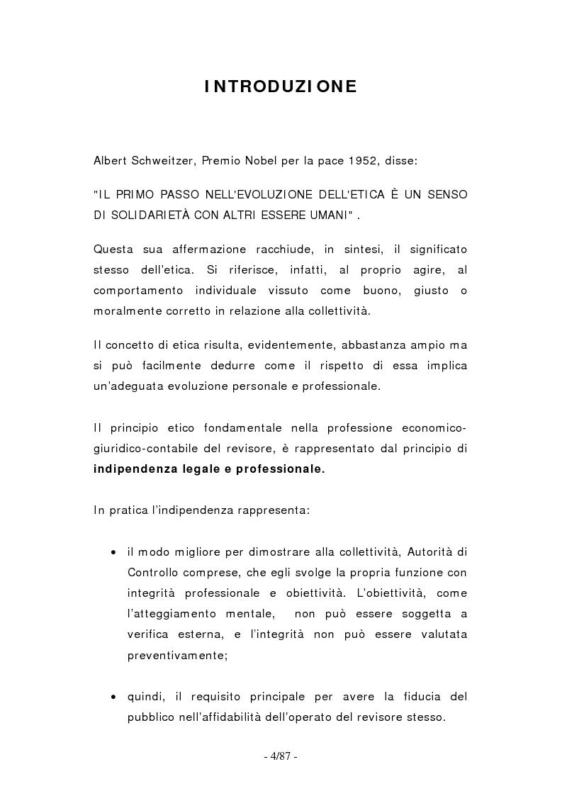 Anteprima della tesi: Le norme etico-professionali: l'indipendenza legale e professionale del revisore, Pagina 1
