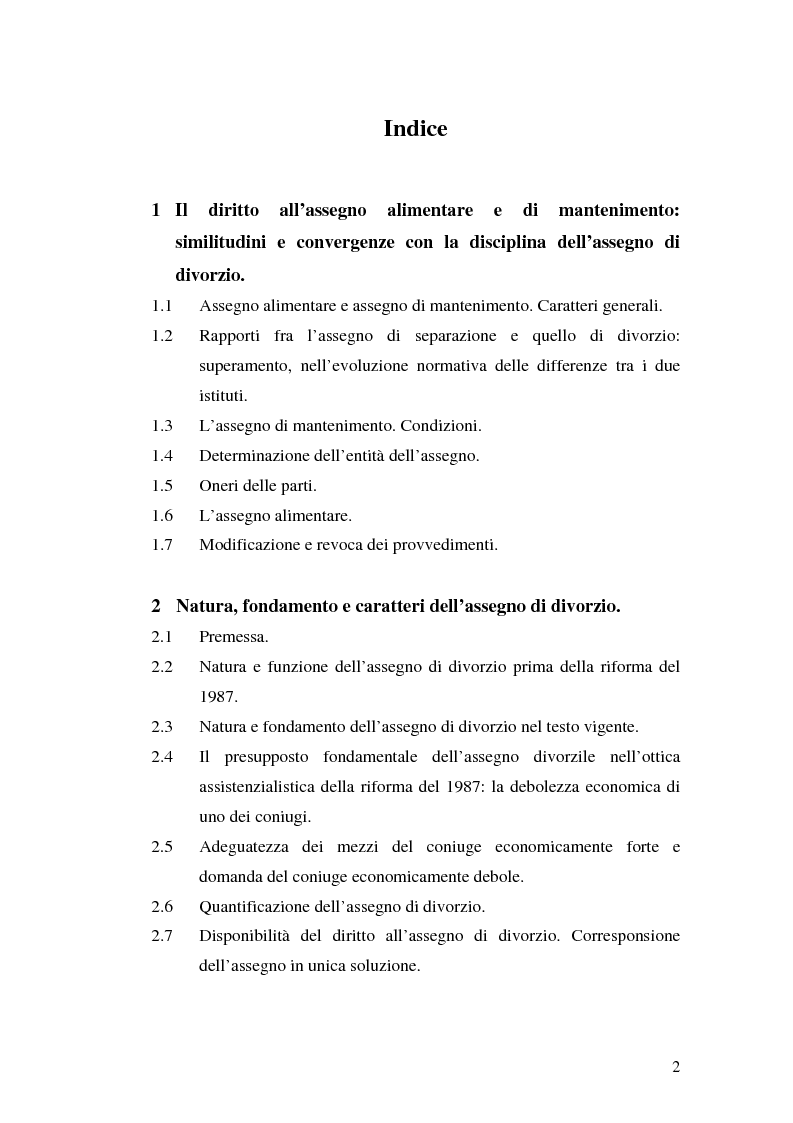 Indice della tesi: I rapporti patrimoniali nella crisi matrimoniale, Pagina 1