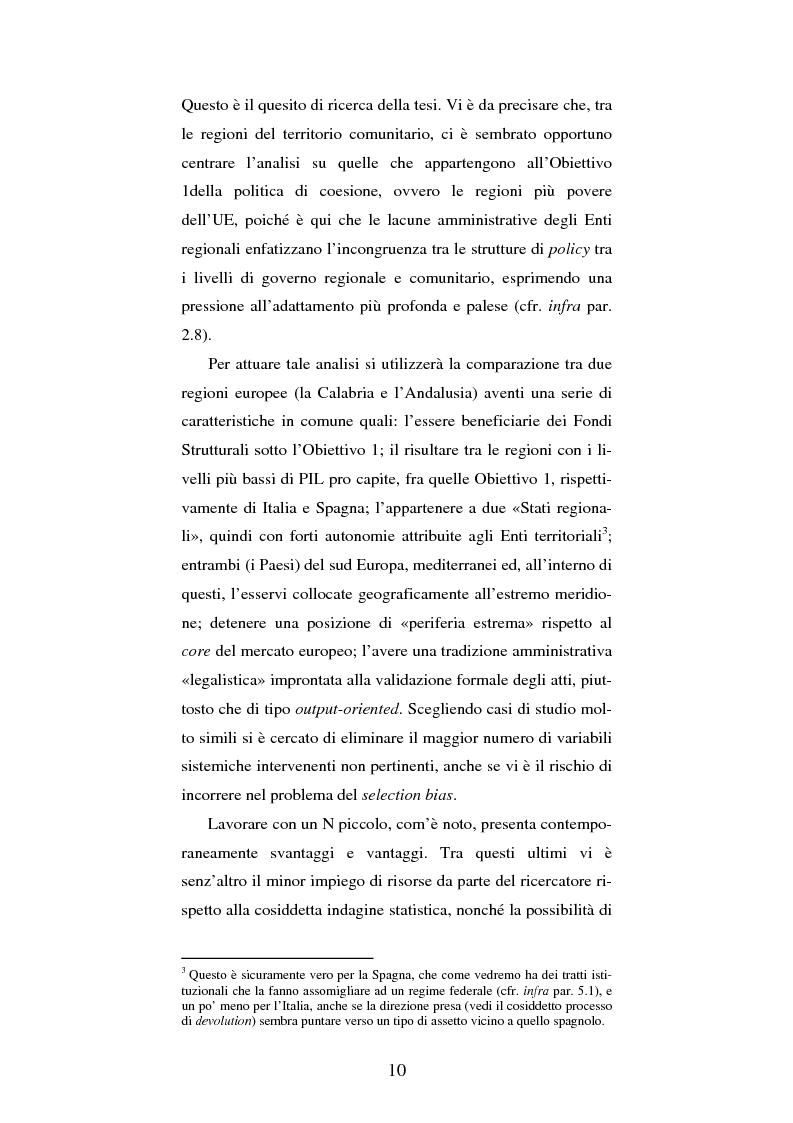 Anteprima della tesi: Europeizzazione e politica di coesione nelle Regioni Obiettivo 1. I casi di Calabria e Andalusia, Pagina 4